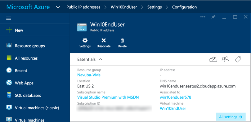 Adding DNS to Azure VMs created using Azure Resource Management